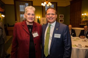 Jackie Manthorne with MPP Mike Schreiner, Green Party MPP and leader of the Green Party of Ontario