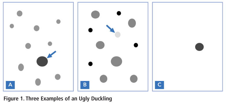 representation of 3 Ugly Duckling mole types