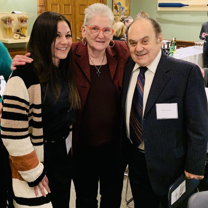 L to R: At the Ontario Legislature, cancer survivor Julianna Leone, pictured with CCSN President and CEO Jackie Manthorne, and Julianna's father Reno Leone, who is also a cancer survivor.