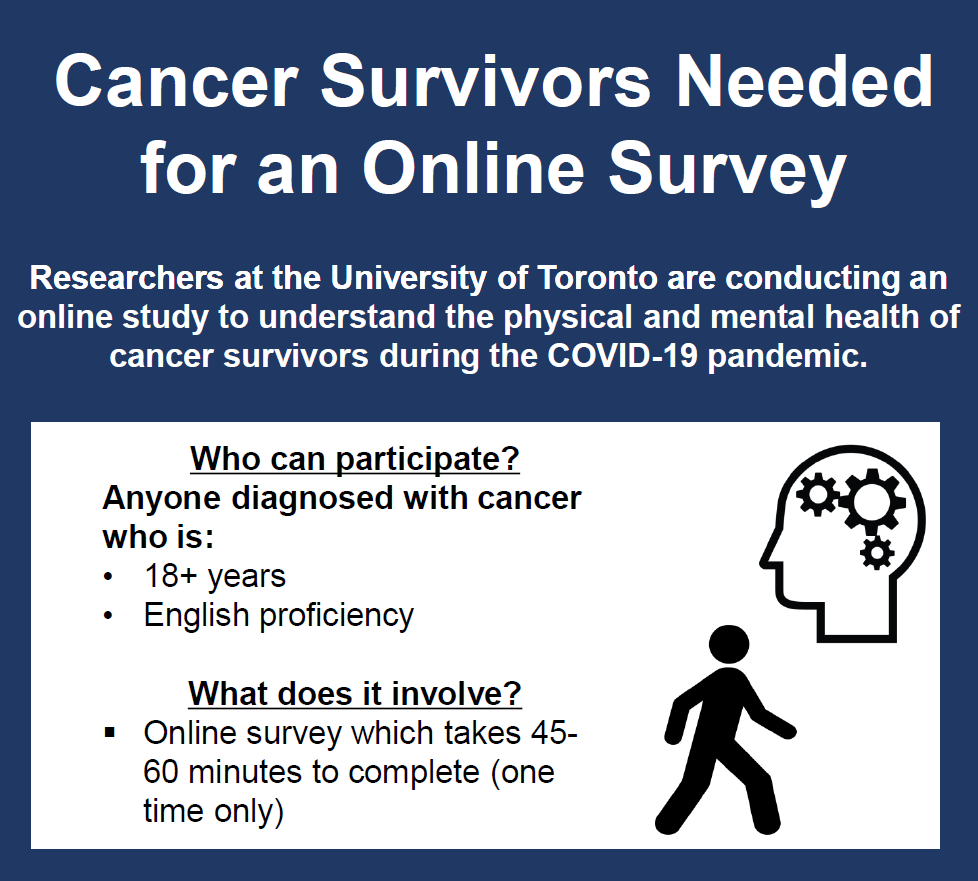 Researchers at the University of Toronto are conducting an online study to understand teh physical and mental health of cancer survivors during the COVID-19 pandemic. Who can participate? Anyone diagnosed with cancer who is 18+ years and proficient in English. What does it involve? An online survey which takes 45-60 minutes to complete (one time only).