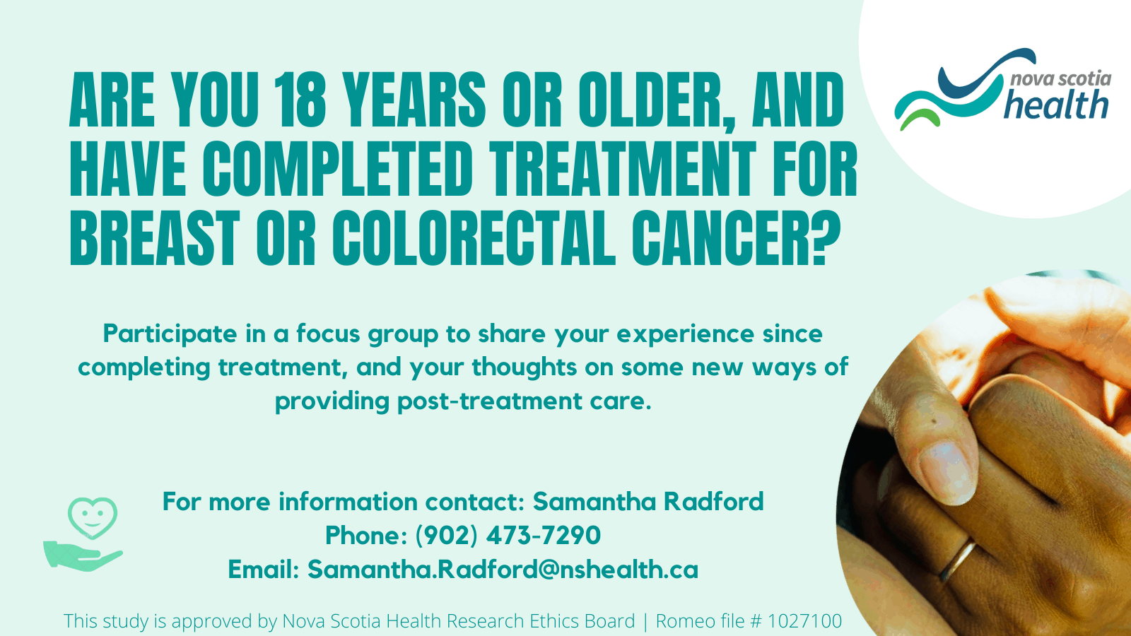 Are you 18 years or older, and have completed treatment for breast or colorectal cancer? Participate in a focus group to share your experience since completing treatment, and your thoughts on some new ways of providing post-treatment care.
